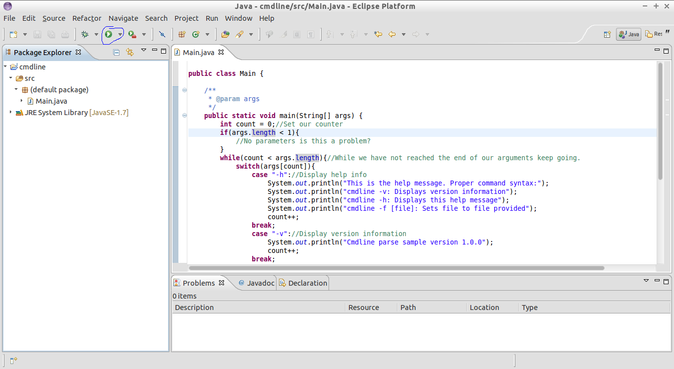 23 using parameters in eclipse cs3 data structures algorithms select the java application section now depending on whether or not you have ran this project previously you may or may not have a baditri Choice Image